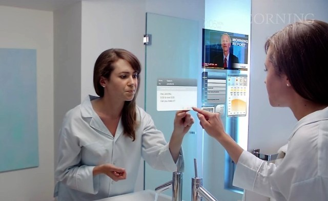 In a 2011 video, Corning Glass showed off a lot of the technologies that would come to be known as the Internet of Things. The touchscreen bathroom mirror hasn't yet come to pass, however. (Credit: Corning Glass via YouTube)