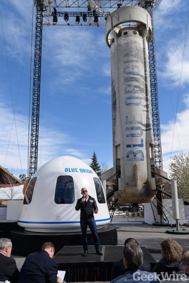 Jeff Bezos and Blue Origin spaceship