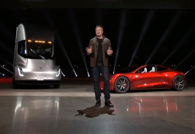 Elon Musk with Tesla Semi and Roadster