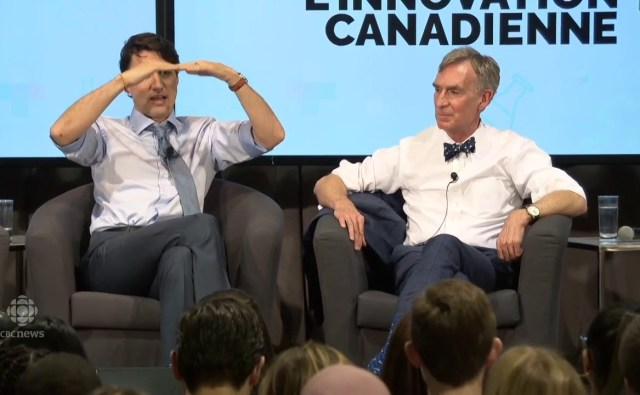 Justin Trudeau and Bill Nye