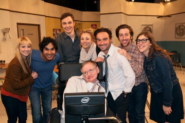 "Stephen Hawking and ""The Big Bang Theory"" cast"
