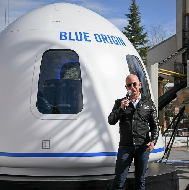 Jeff Bezos with Blue Origin capsule
