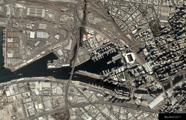 Satellite view of Melbourne
