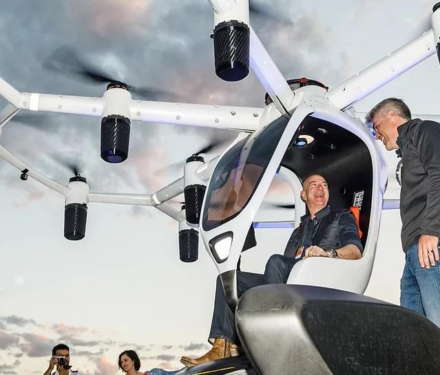 Jeff Bezos in Lift Aircraft's Hexa