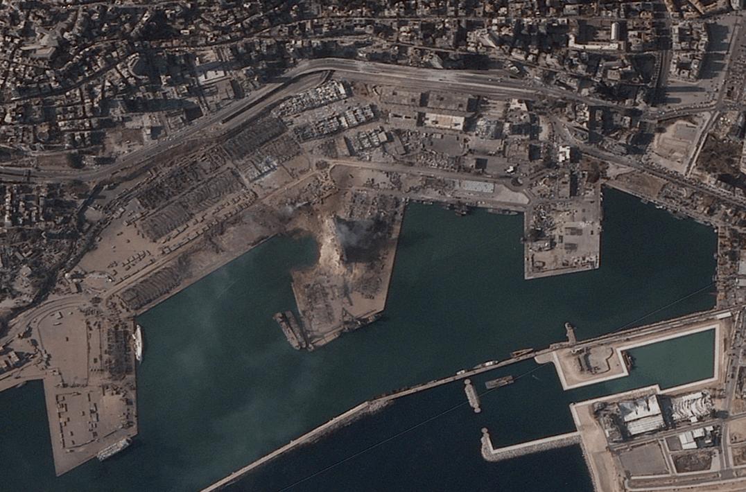 Beirut explosion via BlackSky satellite