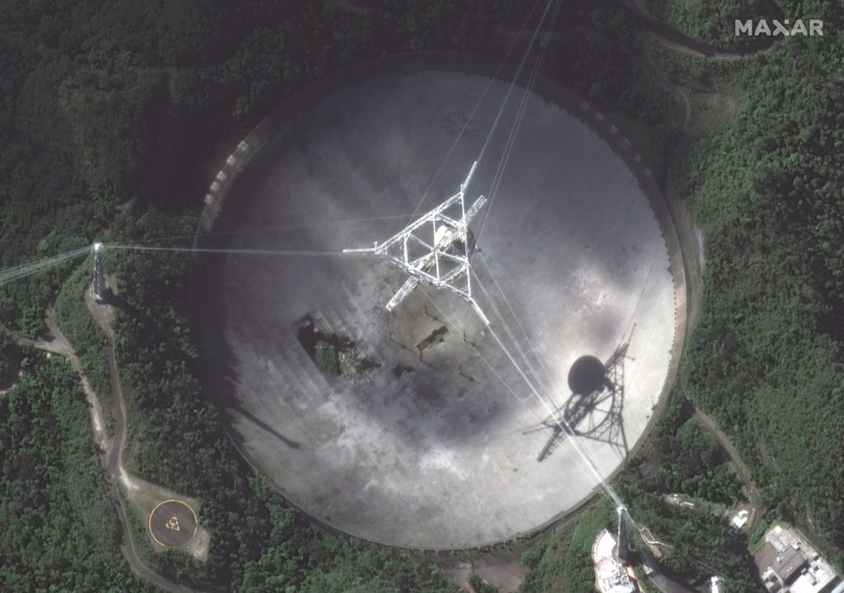 Satellite image of Arecibo radio telescope