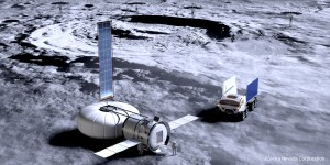 Inflatable module on the moon