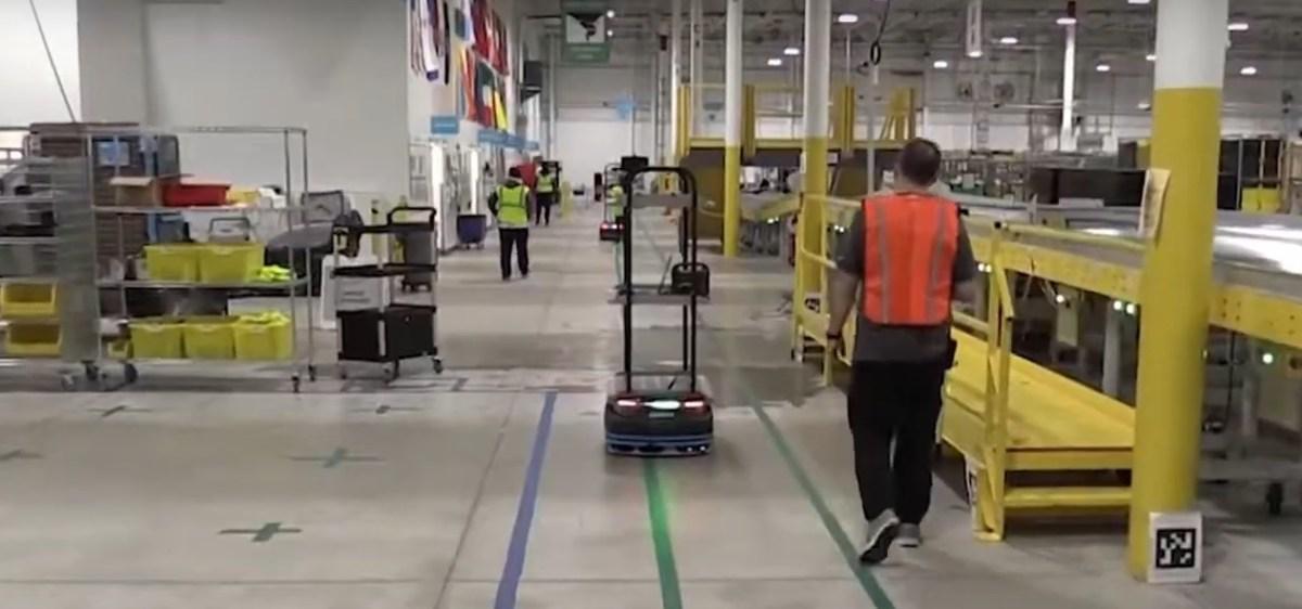 Robot on Amazon warehouse floor