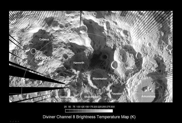 Map of lunar south pole region