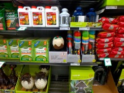 Instead of Christmas supplies, the shelves are now filled with gardening supplies
