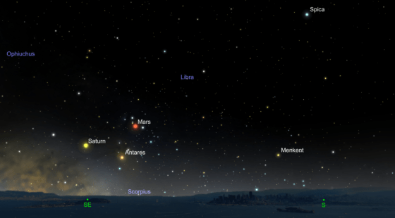 The location of Mars at opposition on May 22, 2016. The planet straddles the border between the constellations Scorpius and Libra. Created with SkySafari.