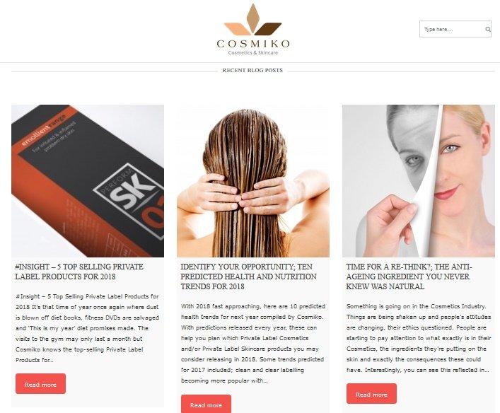 Screenshot of new website cosmiko blog