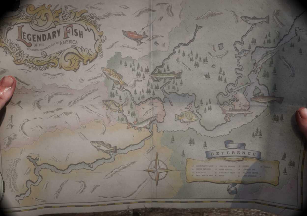 RDR2 Carte référence Poissons Légendaires