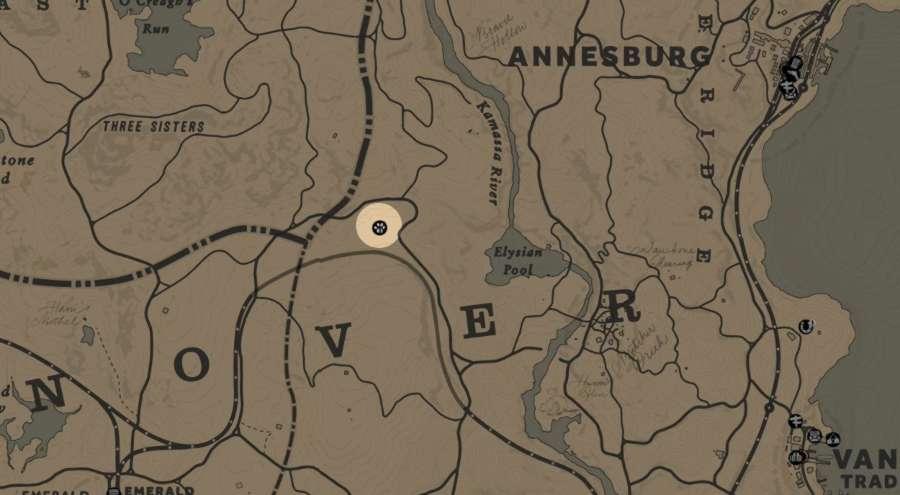 RDR2 emplacement Trappeur 2 de la région Hanover - trappeur 2