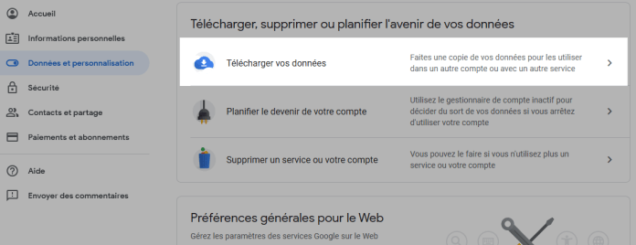 Sauvegarder vos messages gmail - etapes Télécharger vos données