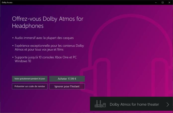 Dolby Atmos sur Windows 10 - payant et période d'essai