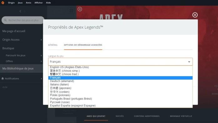 langues disponibles dans Apex Legends