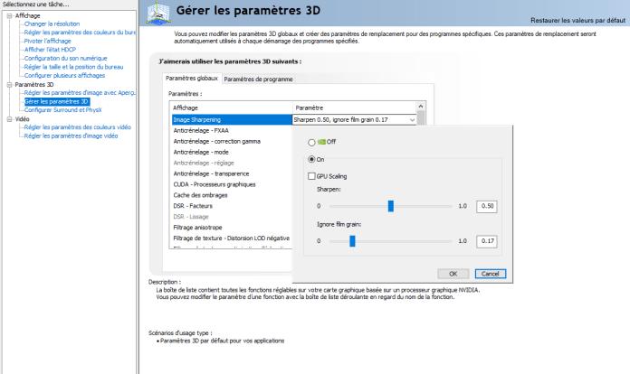 Nvidia Sharpening - paramétre panneau de configuration