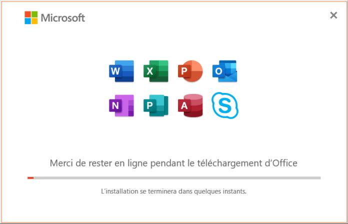 Téléchargement en ligne d'Office 2019