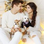 Couple with dogs, dating, in love