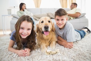 Portrait of happy siblings lying with dog while parents relaxing on sofa at home