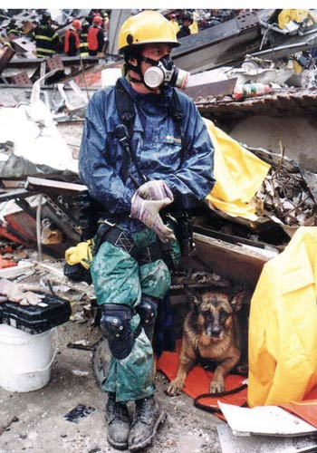 Search and rescue dog with first responder at ground zero during the 9/11 twin tower attacks in New York City (nyc)