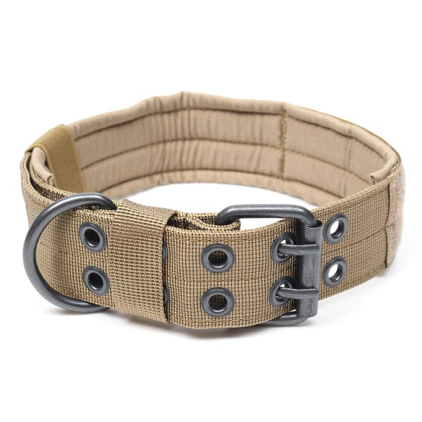 Nylon Tactical Dog Collar Military Adjustable Training Dog Collar with Metal D Ring Buckle M Size