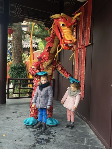Meeting a dragon in the 'land of China' in Phantasialand, near Cologne