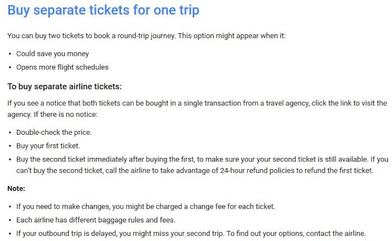 Screenshot of Google Flights flight booking guidelines for buying separate tickets for one trip in order to save money on airfare