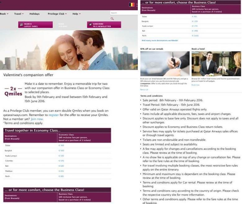 Screenshot of Qatar Airways Valentine's companion offer and conditions to show the importance of signing up on airline newsletters in order to save big on airfaire