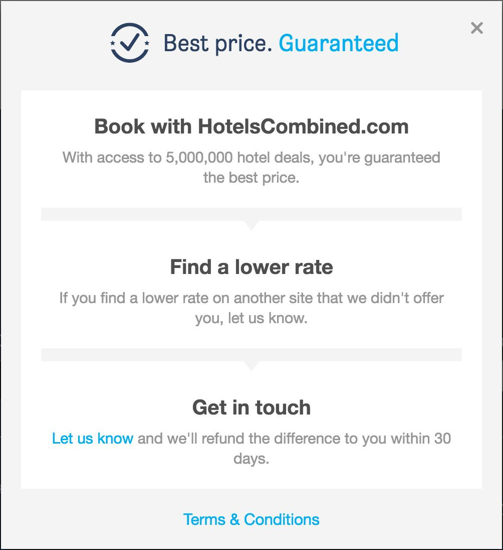 Screenshot of the best price guarantee of HotelsCombined