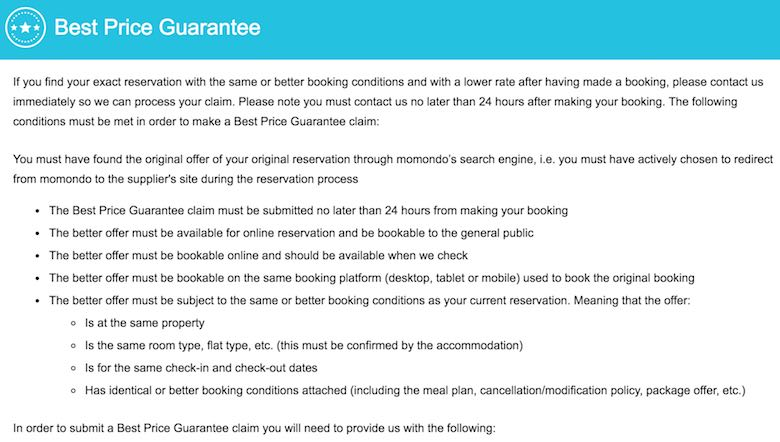 Screenshot of the best price guarantee of