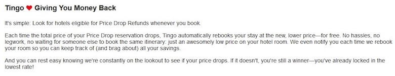A screenshot of the price drop refund policy on the Tingo website