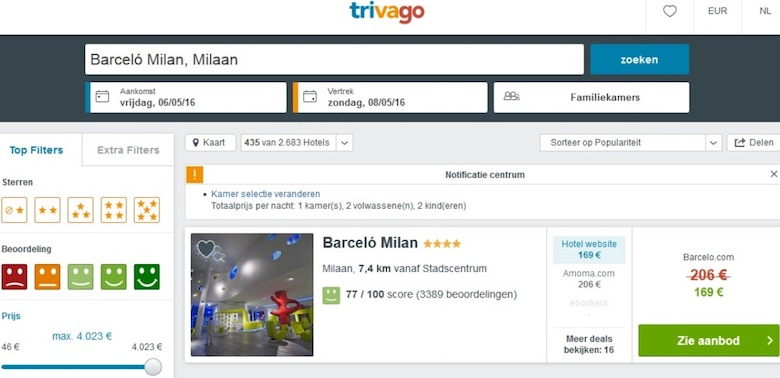 Screenshot of a Barcelo offer on the Trivago website for comparison reasons, indicating a discounted nightly price of €169