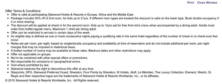 Screenshot of the Starwood 'Are we there yet' conditions to use the promo code in order to score a discount on the second room