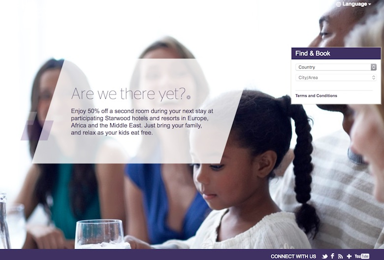 Screenshot of the Starwood 'Are we there yet' page where one can find hotels that offer a discount on the second room