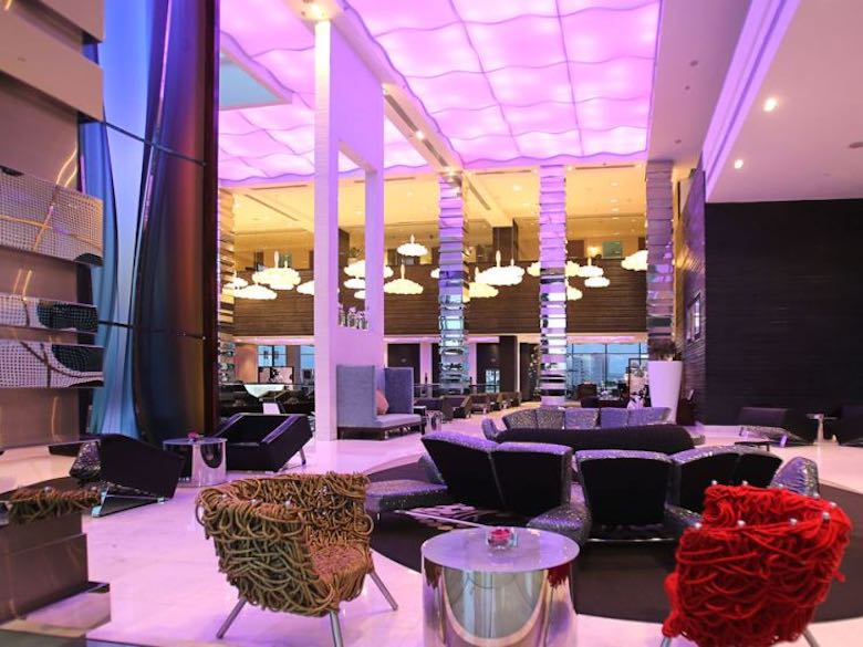 The colorful lobby from the Fairmont Bab Al Bahr hotel in Abu Dhabi