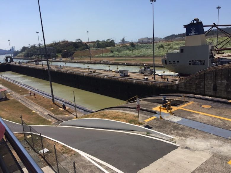 A detailed view of the Miraflores docks at the Panama Canal