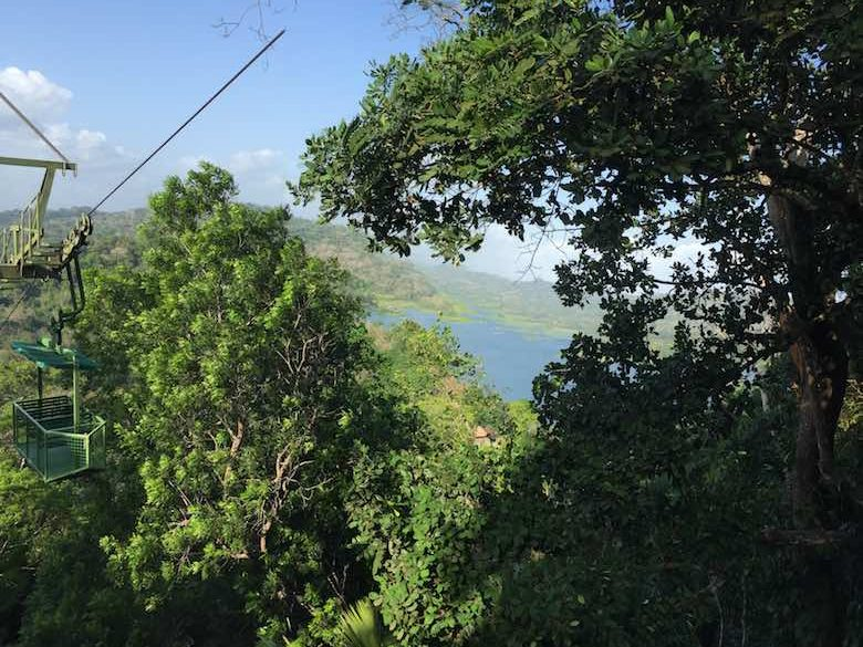 The aerial tramway is taking us higher into the Gamboa rainforest