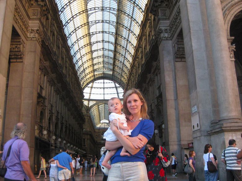 Mother and baby girl in the Galleria Vittorio Emanuele II in Milan, Italy