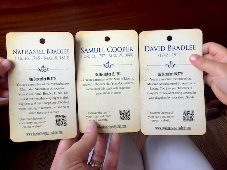 Three mini-biography cards of historic Tea Party patriots, handed over to the CosmopoliClan while visiting the Tea Party Museum, the perfect way to get your kid excited about Boston's heritage