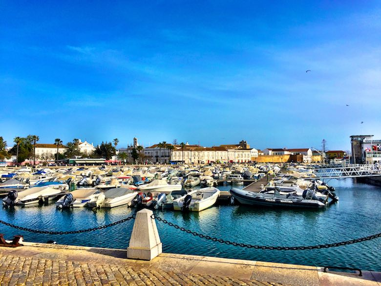 A view of the marina of Faro with in the backdrop the historic centre of the regional capital of authentic Algarve in Portugal