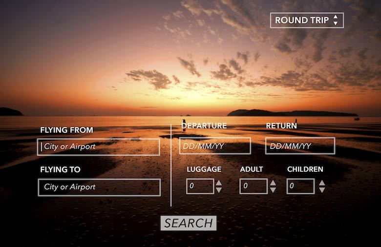 Concept image of a flight booking window with an ocean sunset in the background