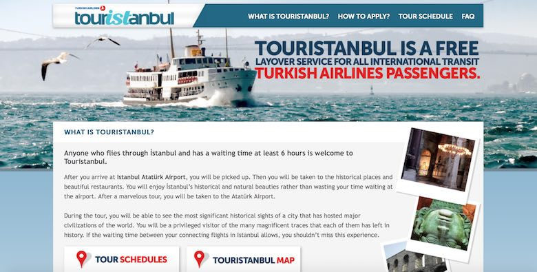 Screenshot of Turkish Airlines's layover program organized by TourIstanbul