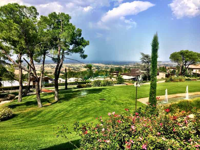 View over the manicured park at Palazzo di Varignana Resort & Spa near Bologna