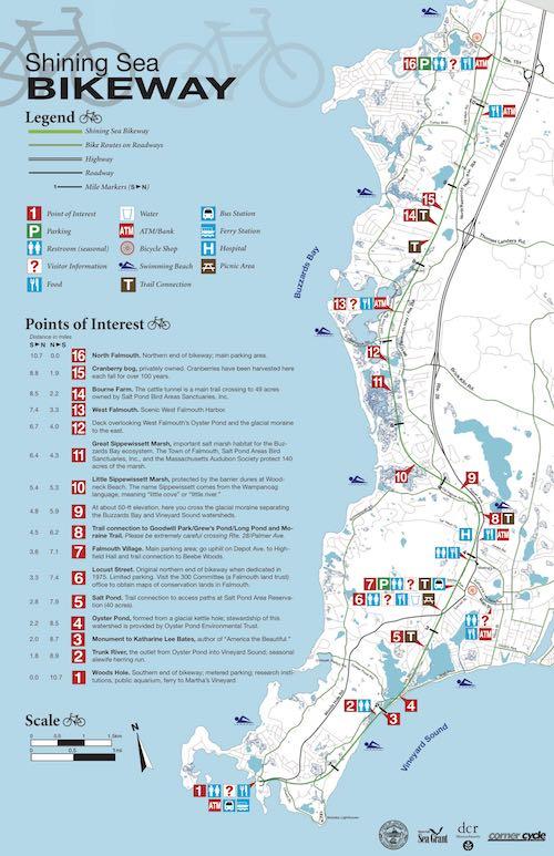 A map indicating the Shining Sea Bikeway