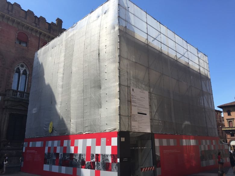 Renovation wrap around the fountain of Neptune in Bologna, Italy