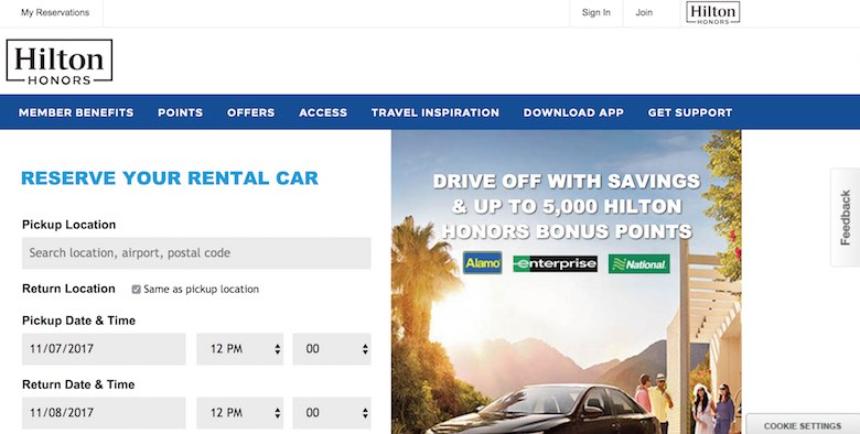 Screenshot of the savings offer at Alamo, Enterprise and National for members of the Hilton Honors hotel loyalty program