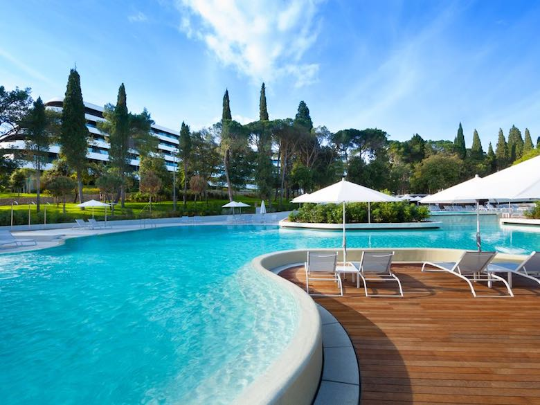Pool view of Hotel Lone in Rovinj, Croatia featured in this article with family-friendly luxury resorts in the Mediterranean