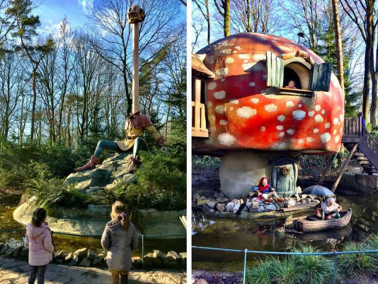 CosmopoliClan zusjes kijken naar Langnek en de paddenstoel in het Efteling Sprookjesbos